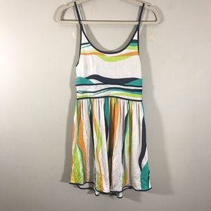 Cooperative striped tank dress keyhole back medium